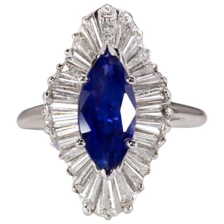 3.20 Carat Royal Blue Sapphire Diamond Halo Cocktail Carat Ring VVS E/G
