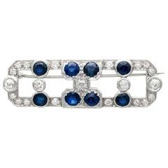 3.20 Carat Sapphire and 1.70 Carat Diamond White Gold Brooch, Art Deco, 1920s