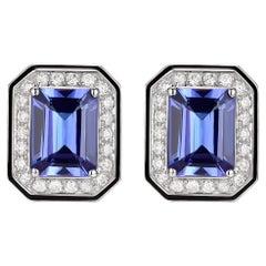 3.20 Carat Tanzanite Diamond Enamel Stud Earrings in 18 Karat White Gold