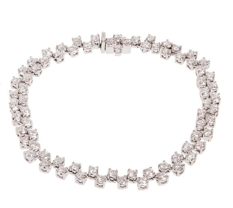 Round Cut 3.20 Carat Two-Row Diamond White Gold Bracelet