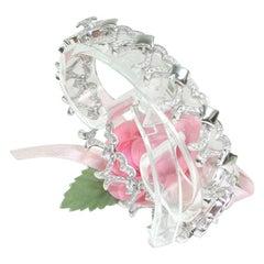 3.20 Carat White Gold Diamond Heart Bracelet