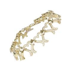 3.20 Carat Yellow Gold Diamond Heart Bracelet