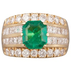 3.20 Carat Diamonds and 2 Carat Colombian Emerald French Ring