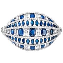 32.05 Carat Blue Sapphire Diamond 18 Karat White Gold Dome Cuff Bangle