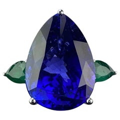 32.05 Carat Pear Shape Tanzanite and Emerald Three-Stone Cocktail Ring