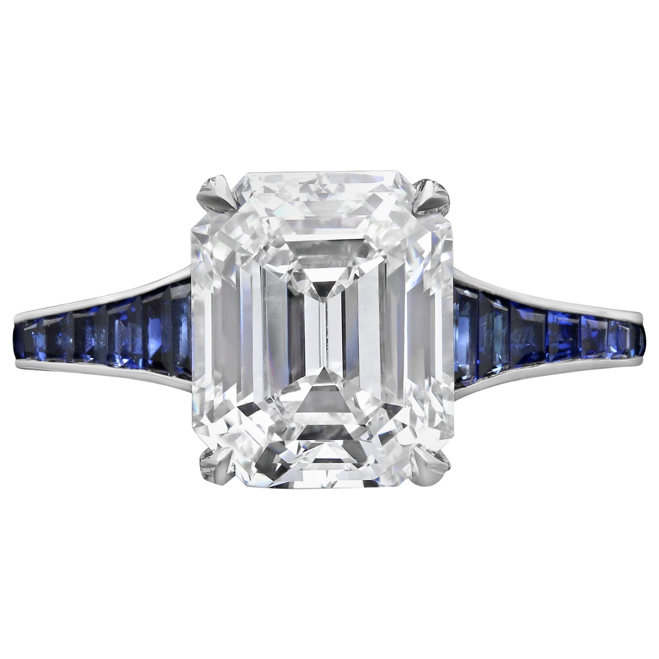 3.20 Carat H VVS1 Vintage Emerald Cut Diamond Ring and Sapphire Band by Hancocks