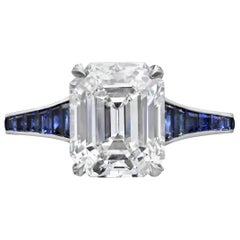 3.20 Carat H VVS1 Vintage Emerald Cut Diamond Ring and Sapphire Band by Hancocks