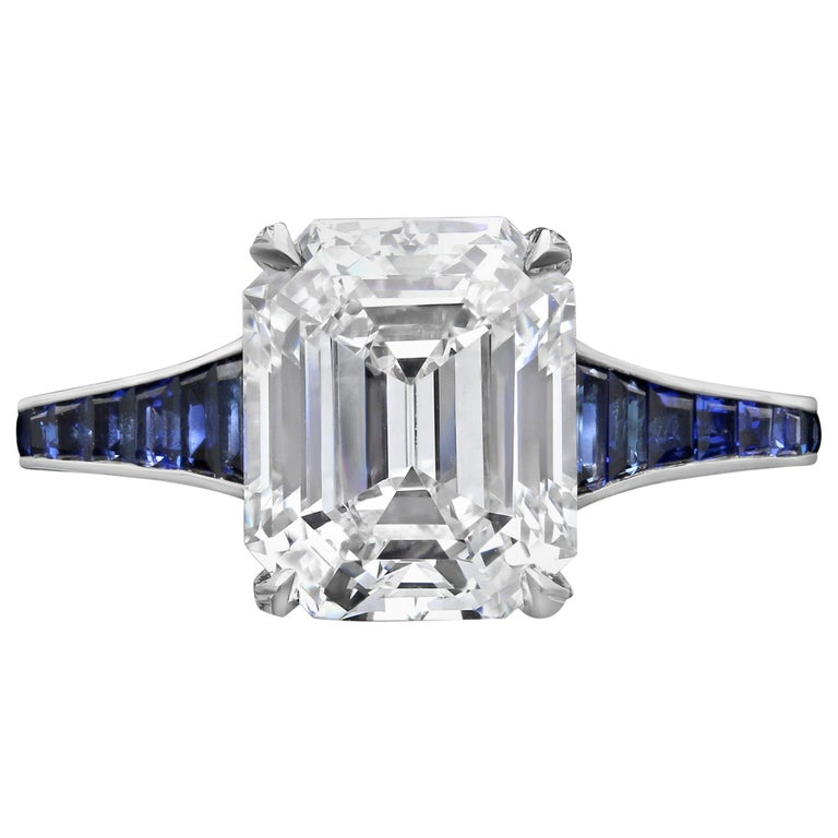 3.20 Carat H VVS1 Vintage Emerald Cut Diamond Ring and Sapphire Band by Hancocks For Sale