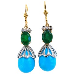 3.20 Carat Natural Emeralds Turquoise Diamonds Dangle Earrings 14 Karat