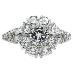 3.20 Carat Round Diamond Cluster Engagement Wedding Anniversary Platinum Ring