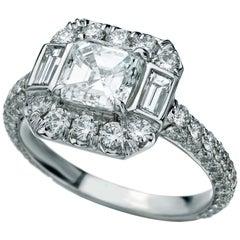 3.21 Carat Asscher Halo Diamond Ring in 18 Karat White Gold
