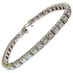 3.21 Carat Diamond Box Deco Tennis Bracelet G/VS 14 Karat Heavy Brilliant