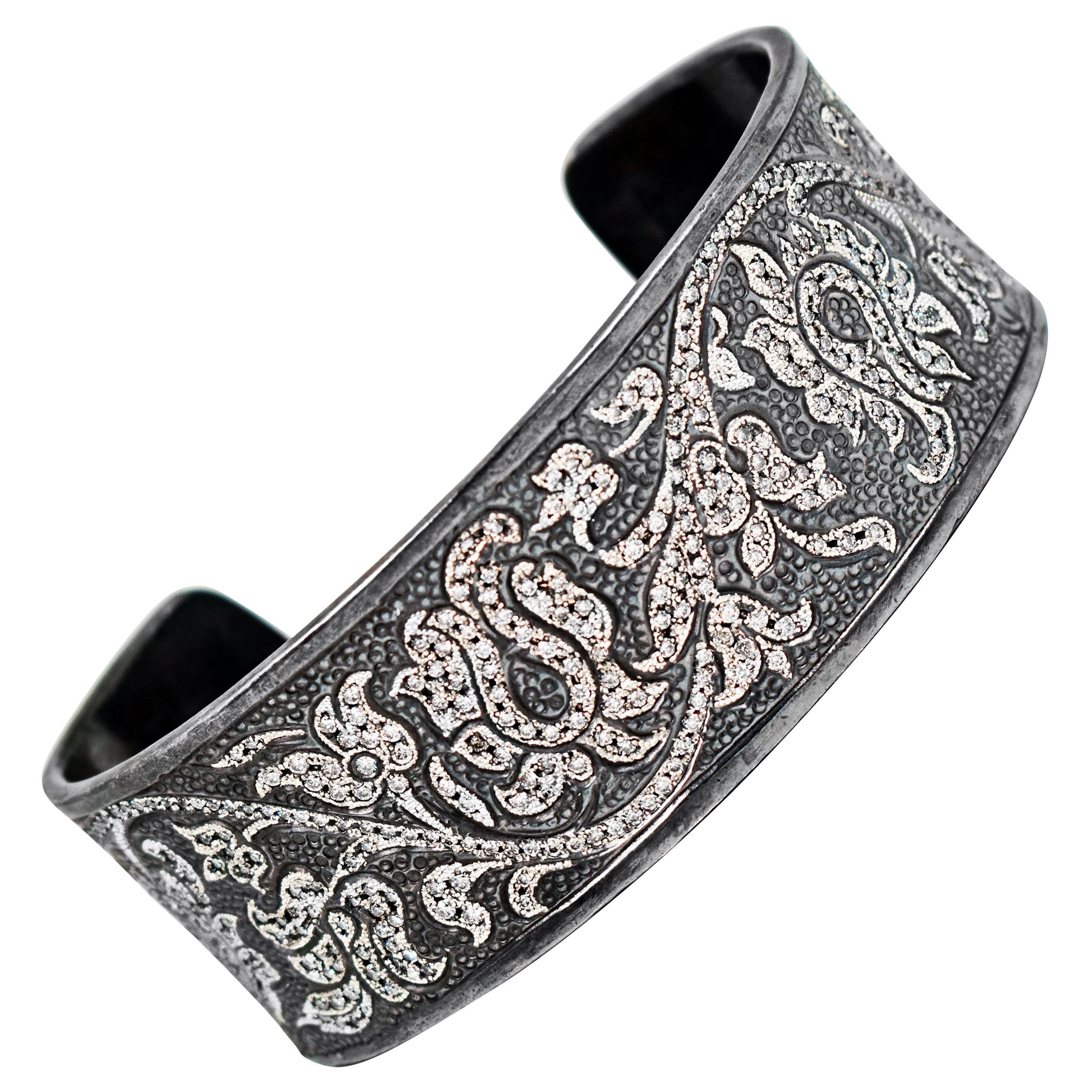 3.21 Carat Diamond Pavé Engraved Oxidized Sterling Silver Cuff Bracelet