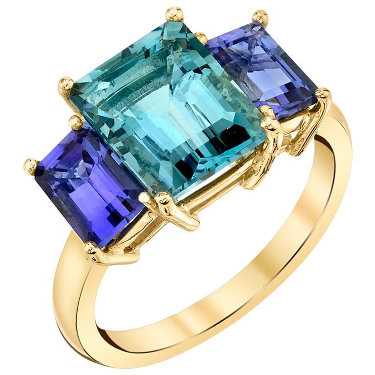 3.21 Carat Emerald Cut Aquamarine, Tanzanite Yellow Gold Cocktail 3-Stone Ring