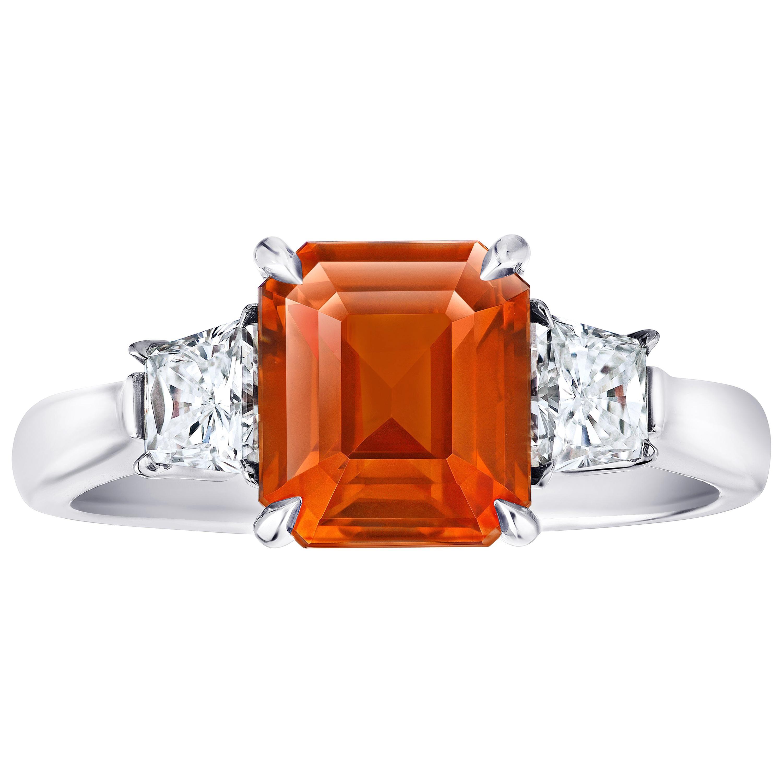3.21 Carat Emerald Cut Orange Sapphire and Diamond Ring