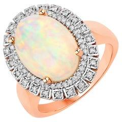 3.21 Carat Ethiopian Opal and Diamond 14 Karat Rose Gold Ring