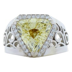 3.21 Carat Fancy Yellow Trillion Cut Diamond White Gold Cocktail Ring