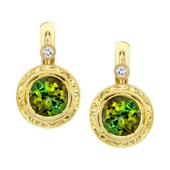 3.21 Carat Green Tourmaline and Diamond 18 Karat Yellow Gold Earrings