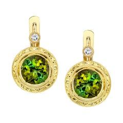 3.21 Carat Green Tourmaline and Diamond 18 Karat Yellow Gold Lever-Back Earrings