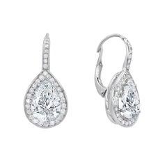 3.21 Carat Pear Shaped Diamond Drop Earrings