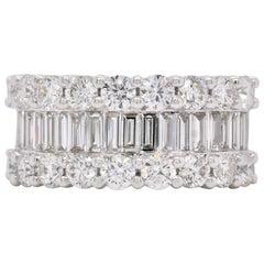 3.21 Carats Round & Baguette Diamond Prong Set 18K White Gold Wedding Band Ring