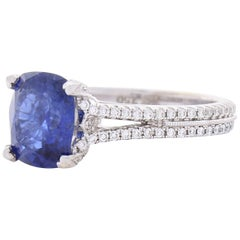 3.22 Carat Cushion Cut Blue Sapphire and Diamond Cocktail Ring in 18 Karat Gold