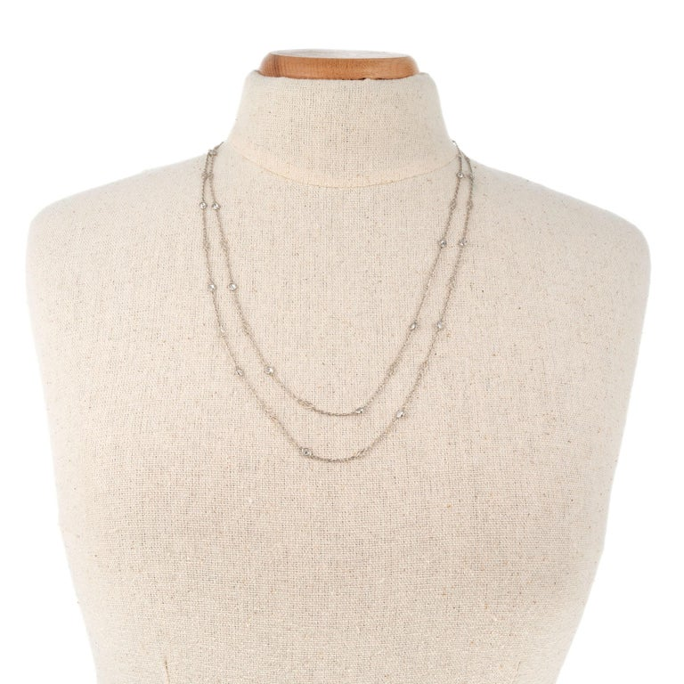 3.22 Carat Diamond by Yard Platinum Necklace In Excellent Condition For Sale In Stamford, CT