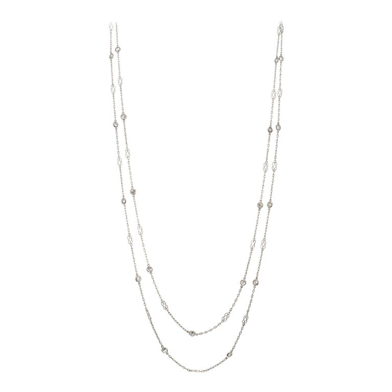 3.22 Carat Diamond by Yard Platinum Necklace For Sale