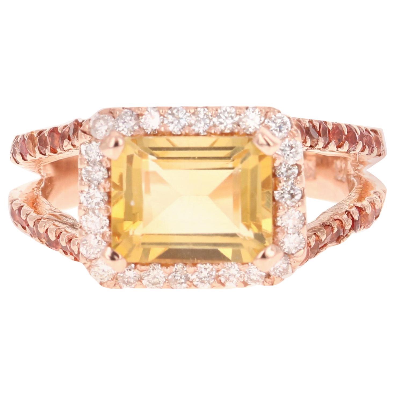 3.22 Carat Emerald Cut Citrine, Sapphire and Diamond 14 Karat Rose Gold Ring