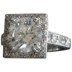 3.22 Carat GIA Diamond Square Halo Ring