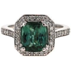 3.22 Carat Green Tourmaline Diamond 14 Karat White Gold Engagement Ring