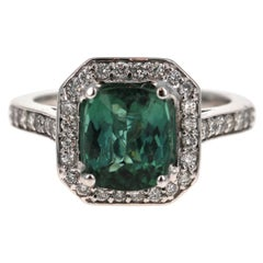 3.22 Carat Green Tourmaline Diamond 14 Karat White Gold Engagement Ring