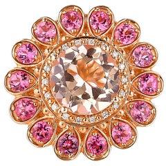 3.22 Carat Morganite, Pink Tourmaline and Diamond Ring in 18 Karat Rose Gold