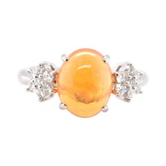 3.22 Carat, Natural Fire Opal and Diamond Ring Set in Platinum