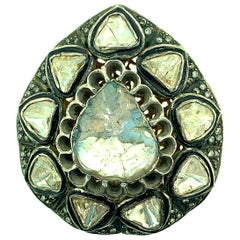 3.22 Carat Old Mine 'Polki' Diamond Ring Oxidized Sterling Silver, 14 Karat Gold