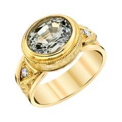 3.22 Carat Silver Gray Natural Topaz, Yellow Gold Engraved Bezel Set Band Ring