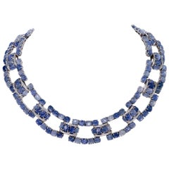 322.08 Carat Star Sapphire Collar Necklace with 5.16 Carat of Diamonds in 18K