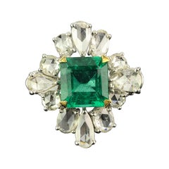 3.23 Carat Emerald and Diamond Cocktail Ring