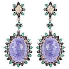 32.36 Carat Tanzanite Emerald Diamond Earrings