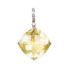 32.39 Carat Lemon Quartz Diamond 18 Karat White Gold Enhancer Natalie Barney