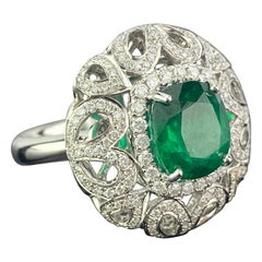 3.24 Carat Cushion Cut Emerald and Diamond Cocktail Ring