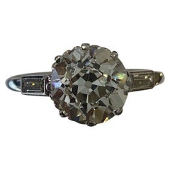 3.24 Carat Diamond Ring Certified by HRD Antwerp, circa 1920