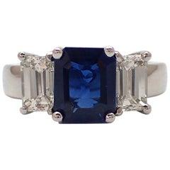 3.24 Carat Emerald Cut Sapphire and Diamond Ring in Platinum