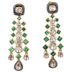 3.24 Carat Emerald Rose Cut Diamond Earrings