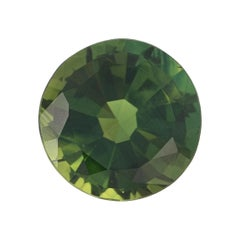 3.24 Carat Loose Green Sapphire, Round Cut Solitaire