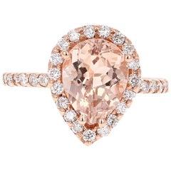3.24 Carat Morganite Diamond Rose Gold Cocktail Ring