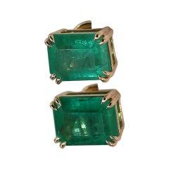 3.24 Carat Natural Emerald Stud Earrings 18k Yellow Gold