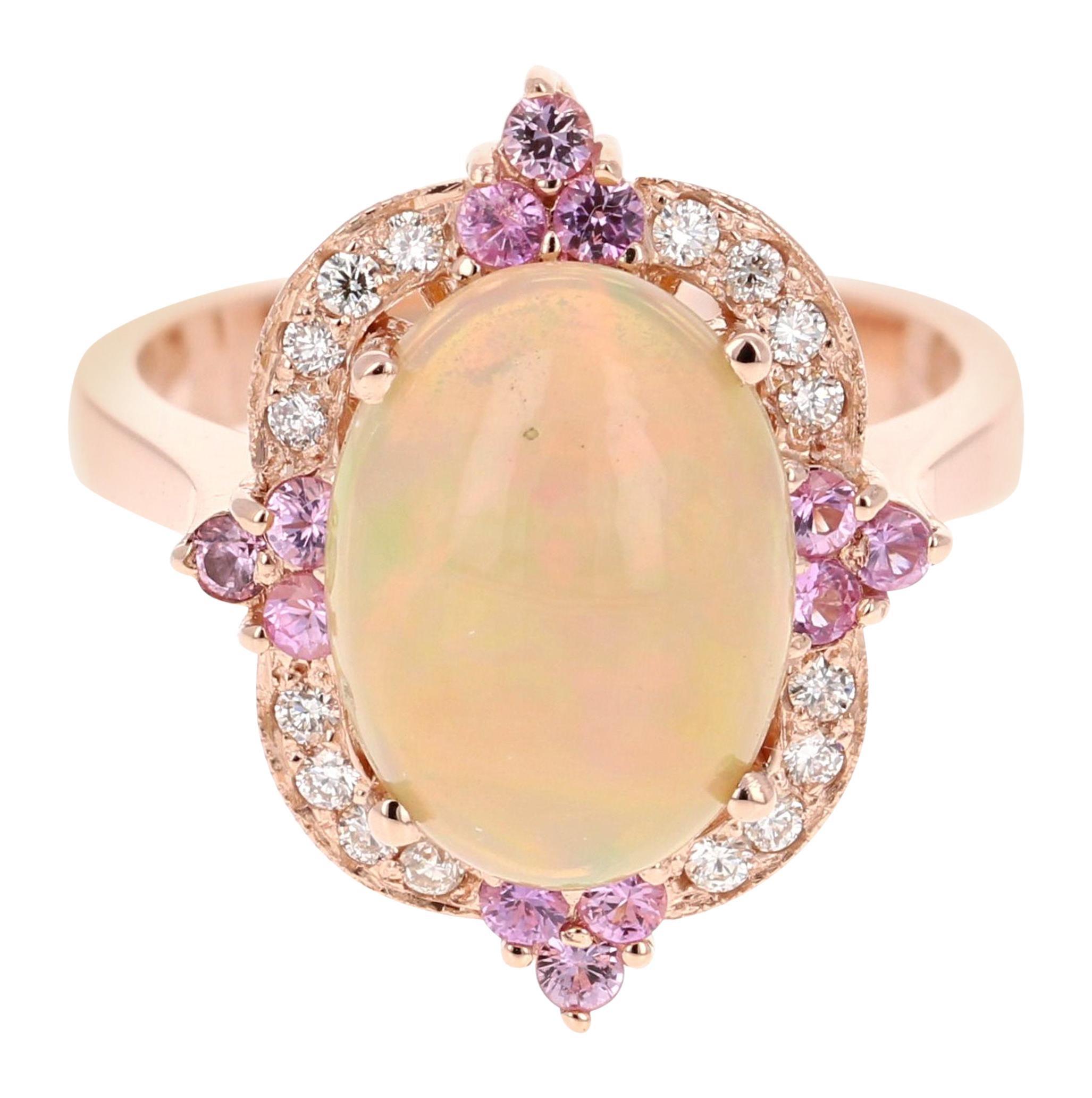 3.24 Carat Opal Diamond 18 Karat Rose Gold Ring