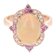 3.24 Carat Opal Diamond 18 Karat Rose Gold Ring