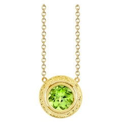 3.24 Carat Peridot and 18 Karat Yellow Gold Hand Engraved Bezel Set Necklace